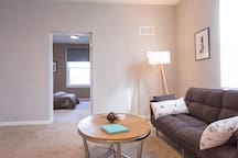 """Living area door leading to our cozy and quiet bedroom with full/double size bed (54"""" x 75"""")"""
