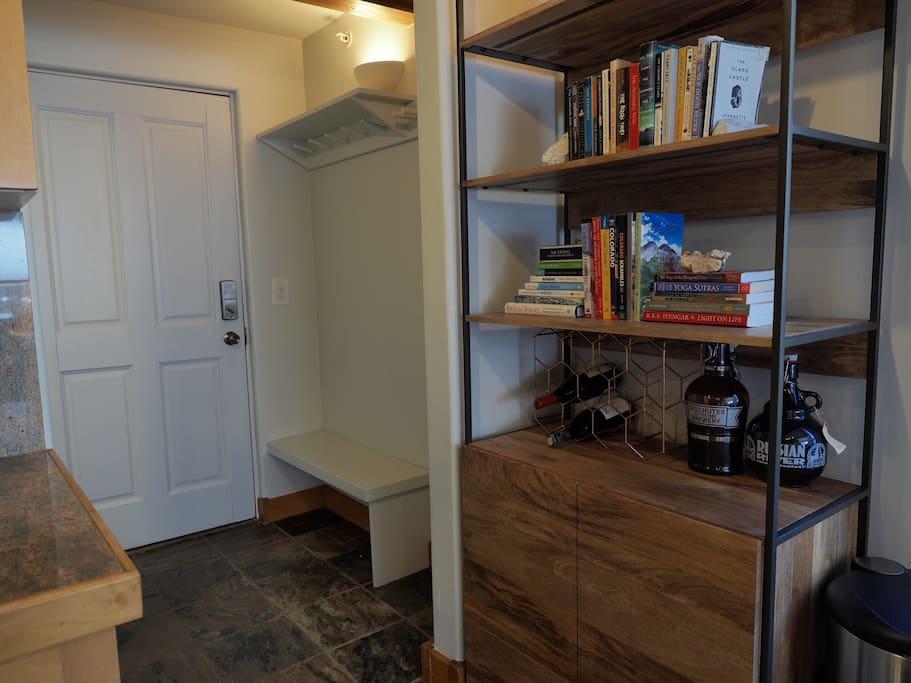 Entryway ski and coat storage