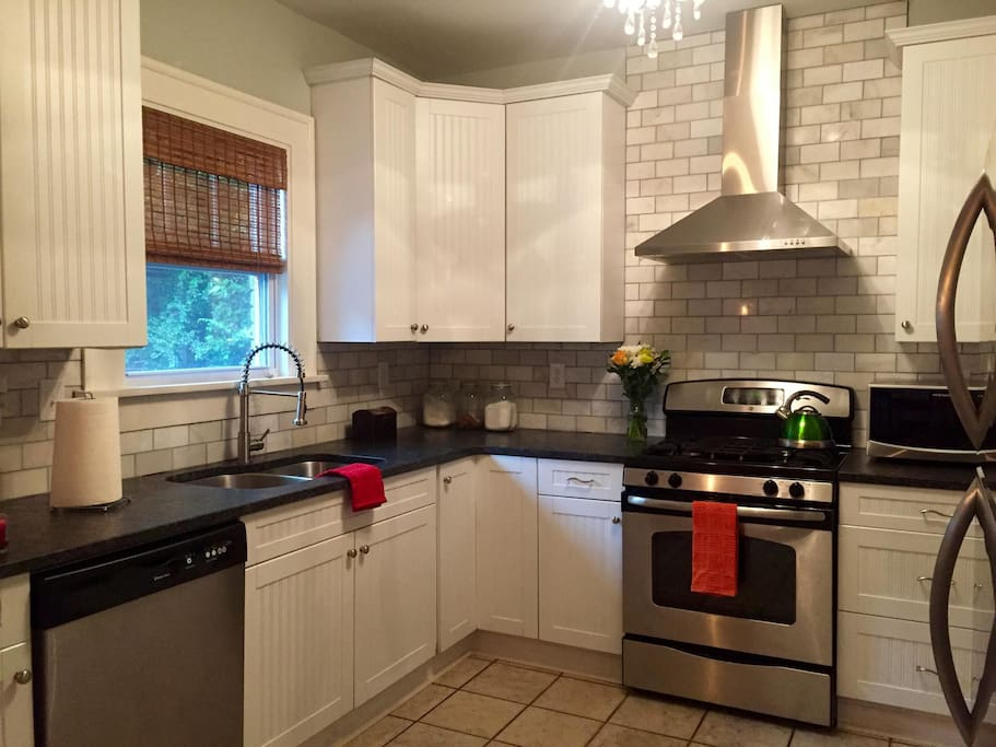 Updated kitchen with granite and stainless