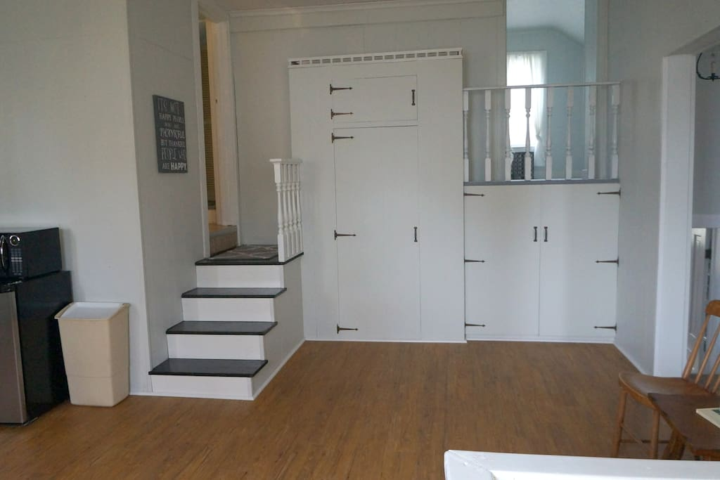Stairs to bathroom and bedroom