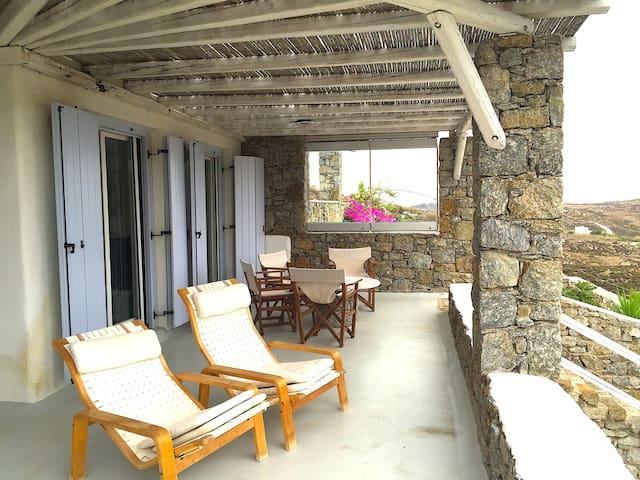 Mykonos Villa for 9 Land, Sea View & Swimming Pool