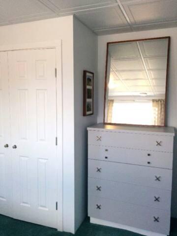 Closet, dresser, and mirror in bedroom