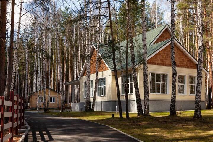 Загородное поместье в лесу, у озера (дом 250 м2)