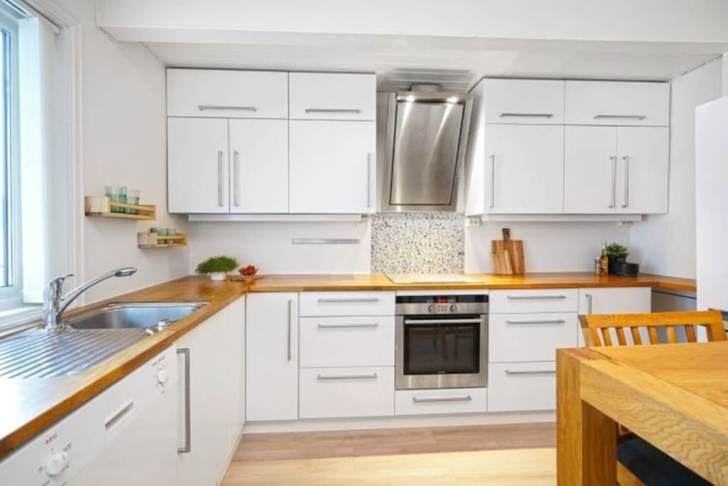 Renovated kitchen with butcher's block counter