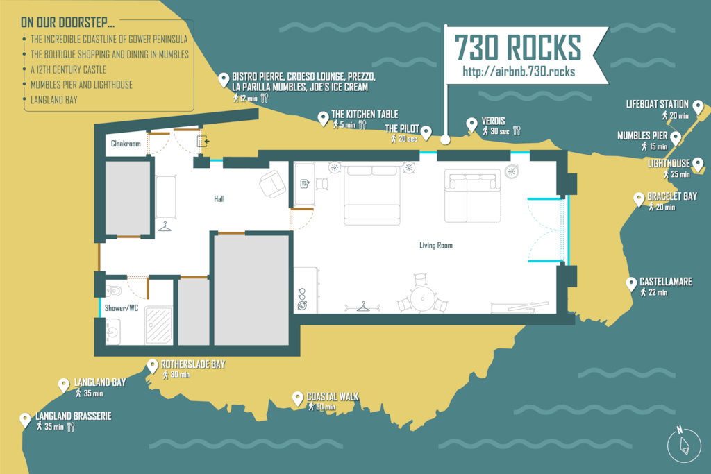 730 Rocks in relation to Mumbles Village, the beaches, restaurants and pubs.
