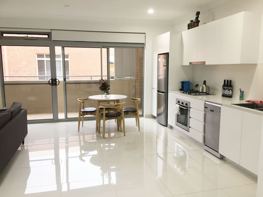 Large, light filled, open plan living & kitchen area/private north-facing balcony