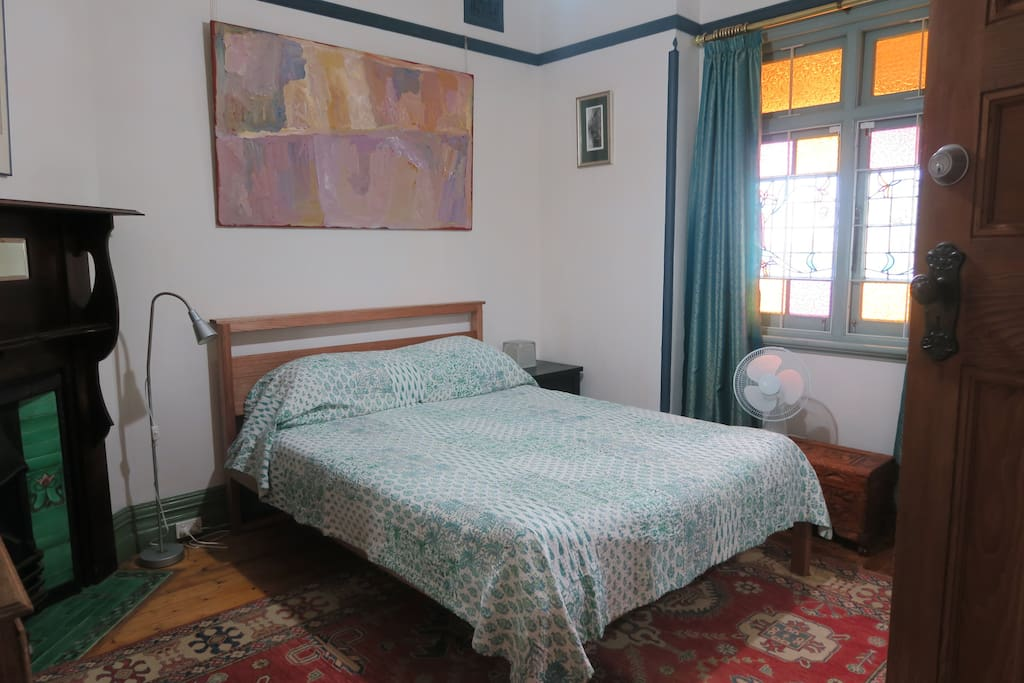 Large room with comfortable queen sized bed.