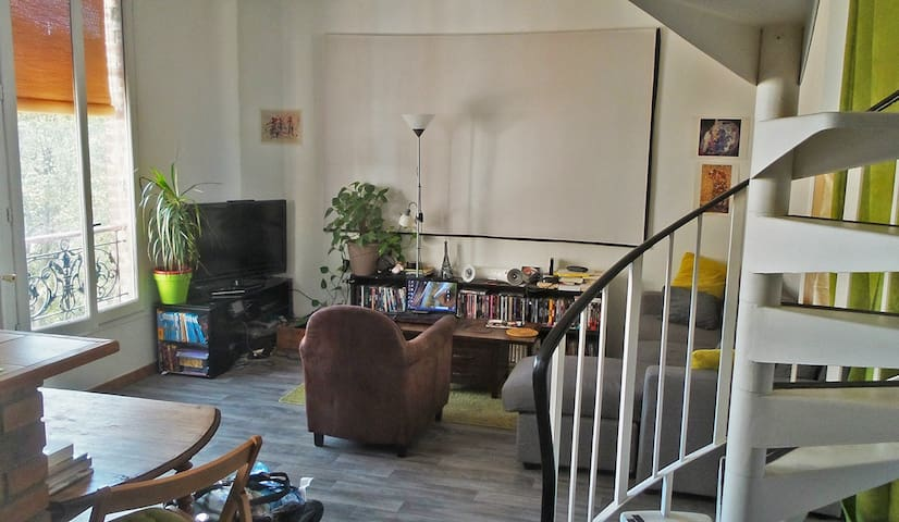 Room in perfect sunny duplex for visiting Paris