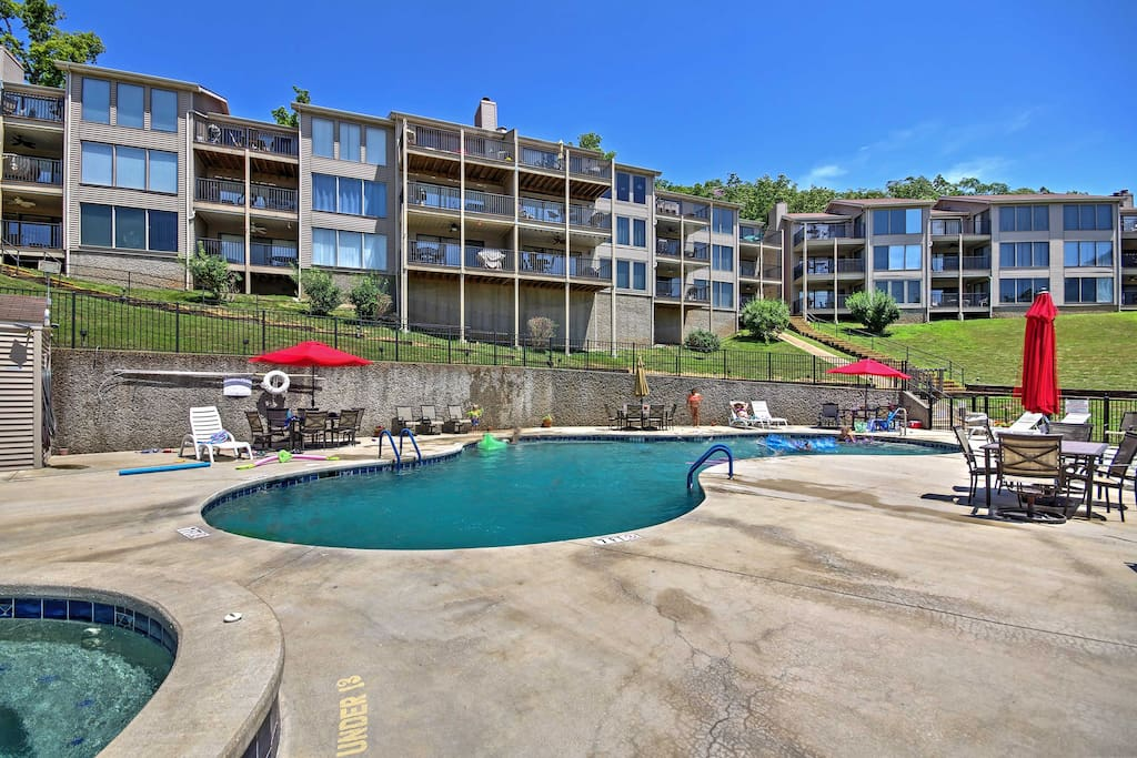 Community amenities include a saltwater pool and hot tub!