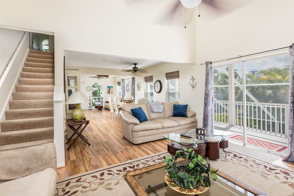 The open-concept floor plan is perfect for groups.