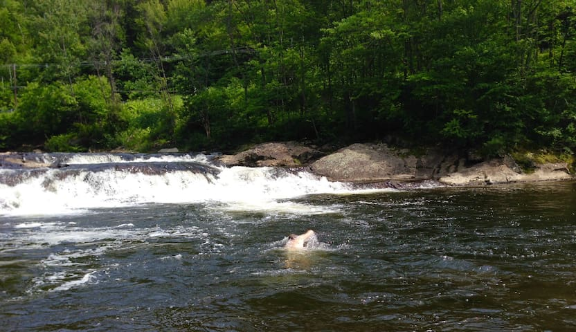 A 2 min walk down the road. Bring your towels and jump into the refreshing Gihon River.