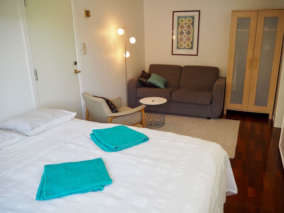 Combined sitting and bedroom with comfortable bed.
