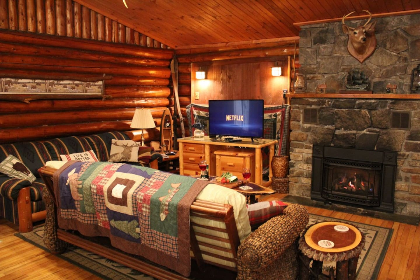 Enjoy cable and smart TV capabilities with Roku while getting cozy next to the gas fireplace!