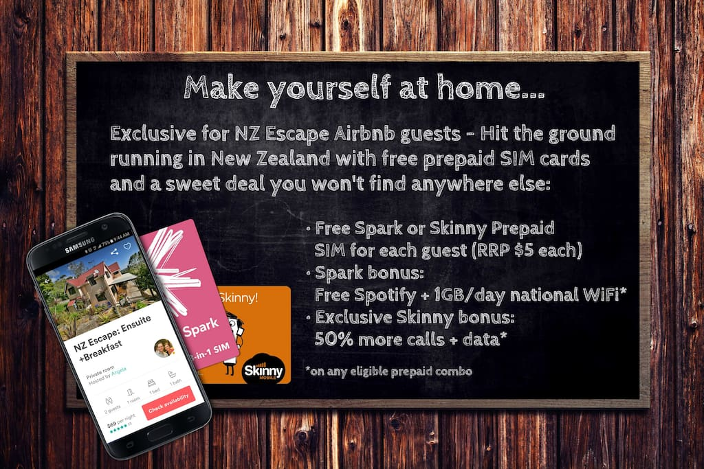 Free Spark or Skinny SIM card and a sweet exclusive offer just for NZ Escape Airbnb guests