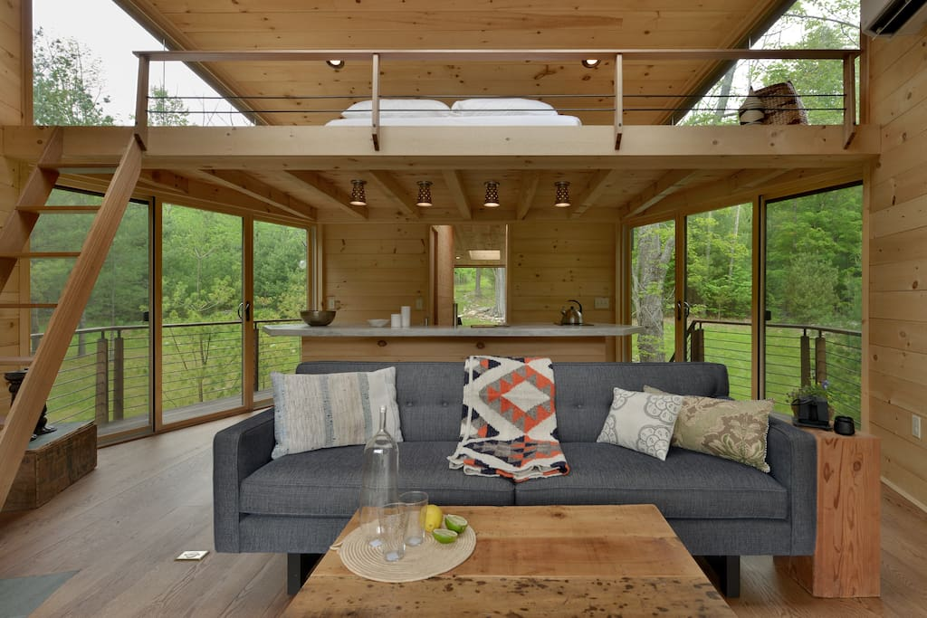 The sleeping loft is above the main living area