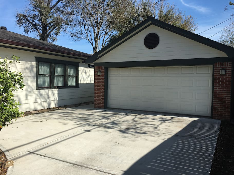 Two car garage and gated parking area