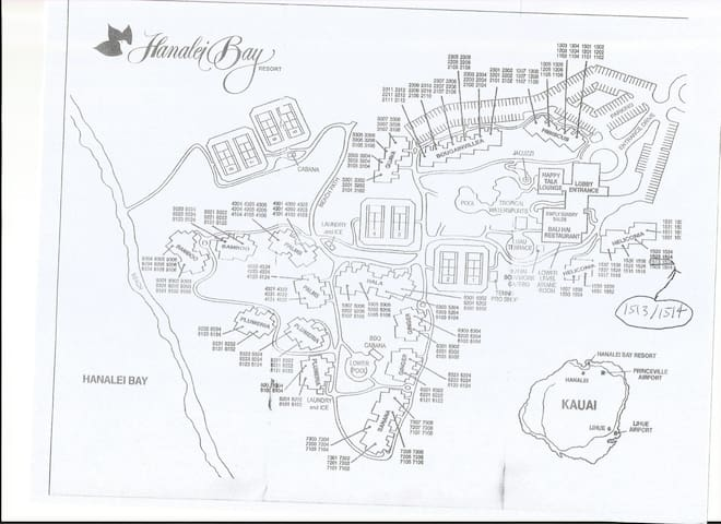Location of unit on resort map.  Unit is on second floor and is two flights down from entry level.  It faces the mountains and gardens.