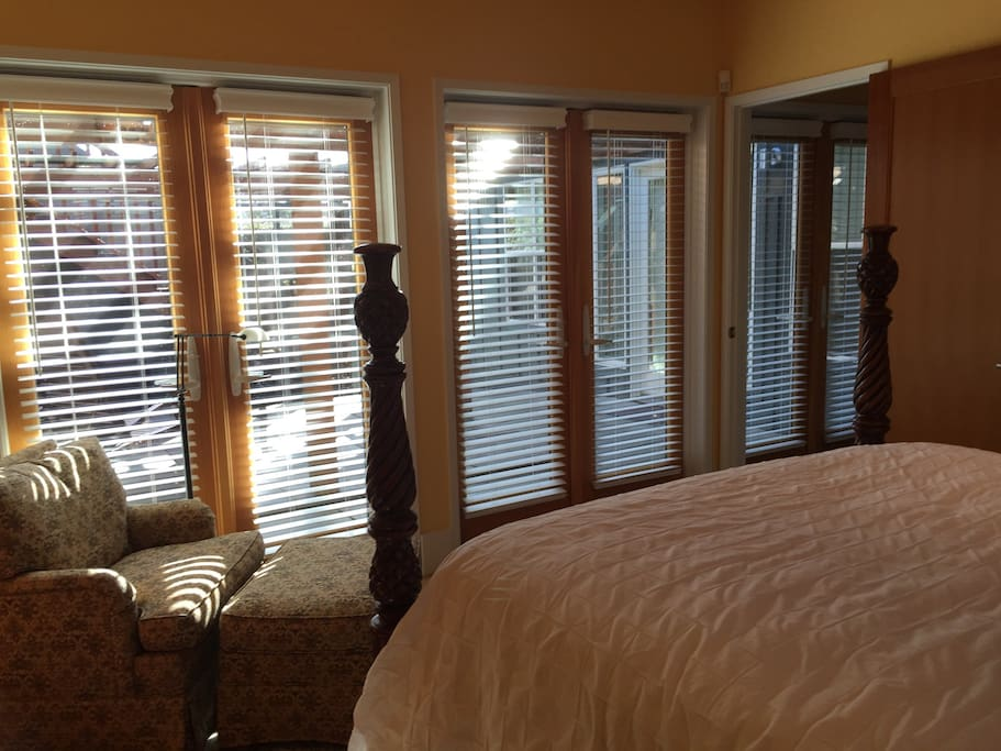 Lots of light from courtyard French doors.