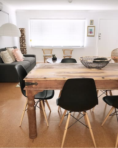 Dining table overlooking the living room