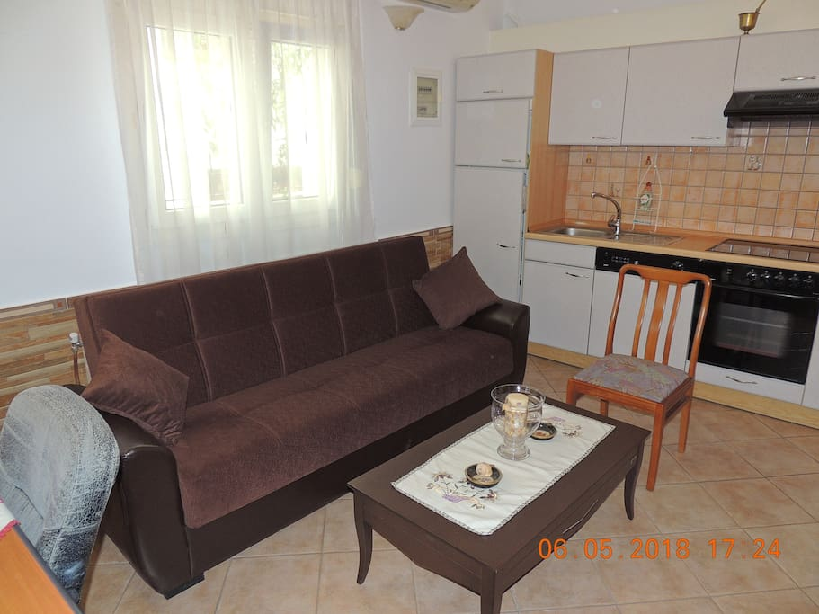 LIVING ROOM WITH SOFA-DOUBLE BED