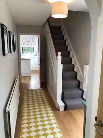 The hallway (stair gates at top and bottom of stairs)