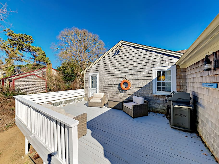 Spend time together on the large, private deck with ample seating and a grill.