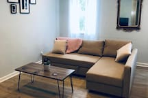 Living room - Comfy Couch with sleepover.  Big Screen TV with Apple TV (access to NETFLIX, HBO, YAHOO etc.) . Board Games.