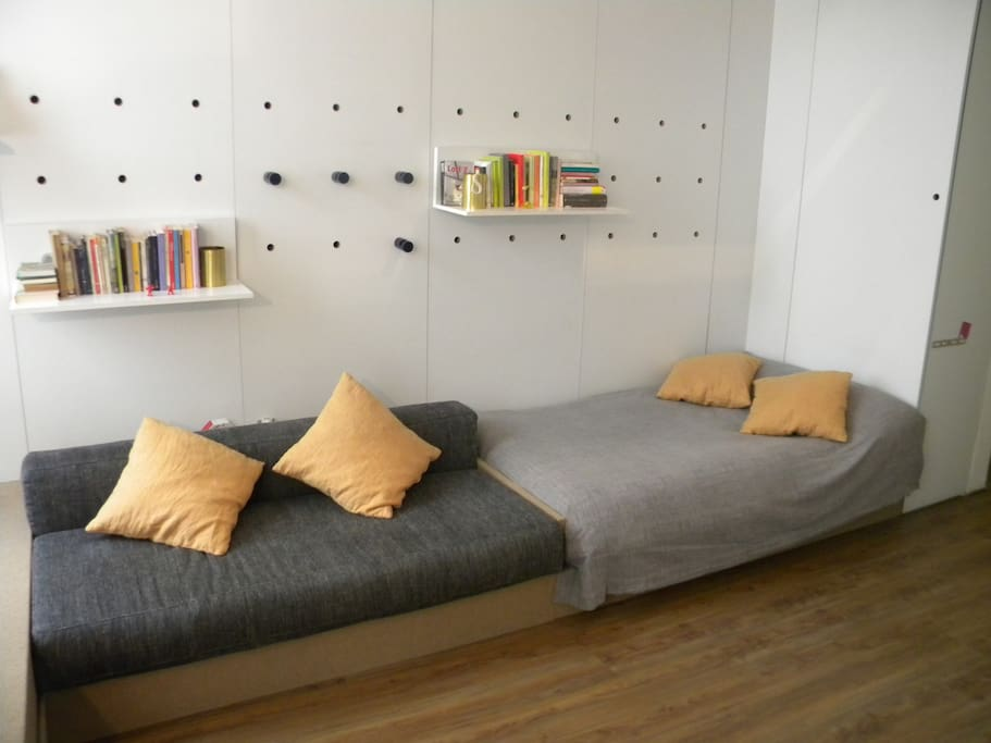 The bed and the sofa