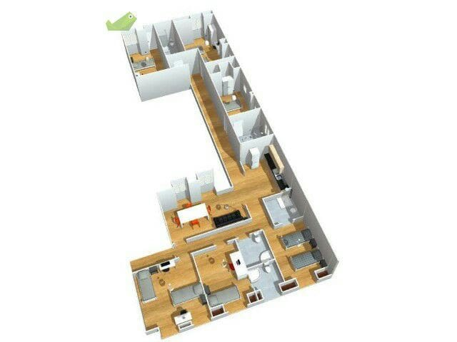 Apartment´s plan. Two equal apartments: 12 double rooms in total