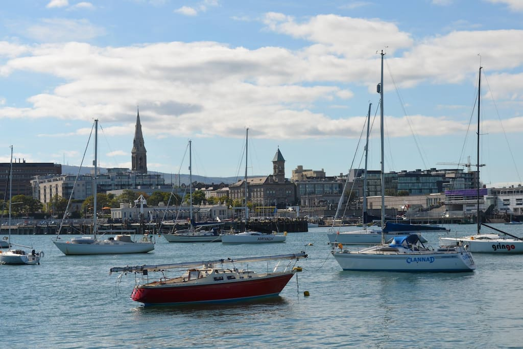Dun Laoghaire marina and harbour only minutes away