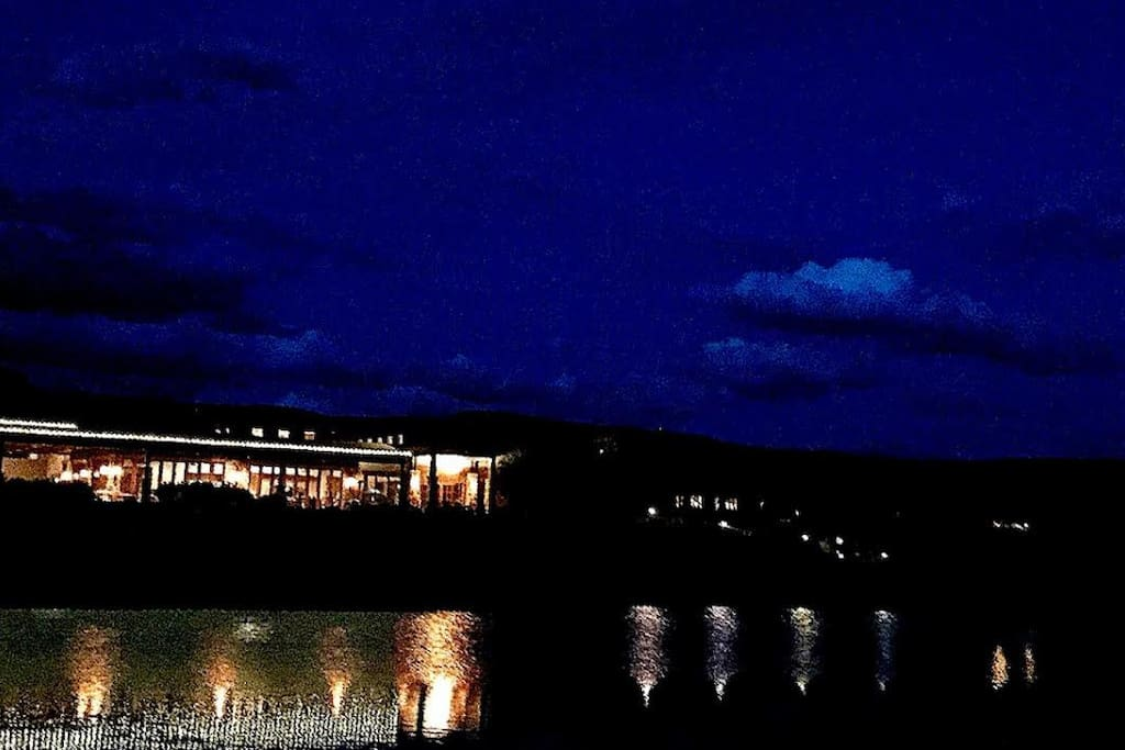 Ledges Golf Course clubhouse at night