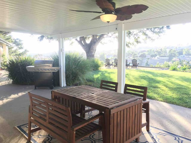 Spacious patio with bbq