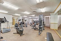 Keep your gym routine on track with the on-site fitness facility