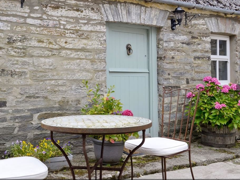 Pretty table in court yard