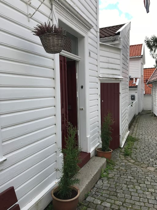 The left door is to the apartment.