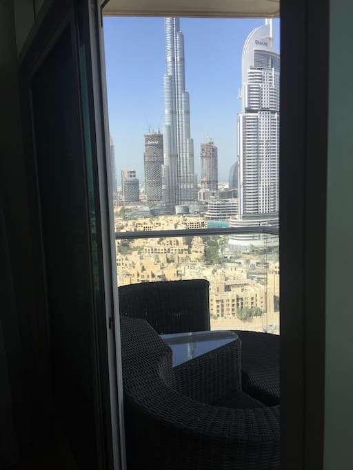 View from inside the living room with Full Burj Views
