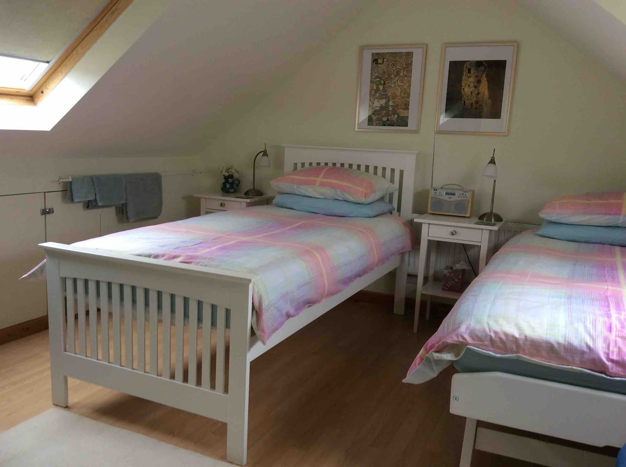 Single or twin beds and lots of natural light from the Velux windows