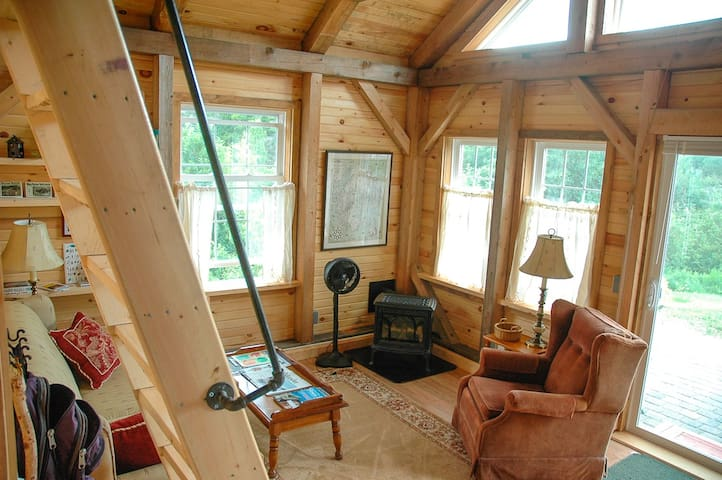 The cozy living room with gas log fireplace and ship's ladder to a reading loft.
