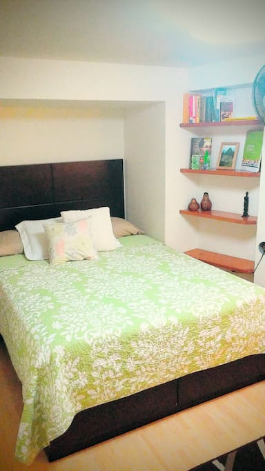 Bed and Bookshelf