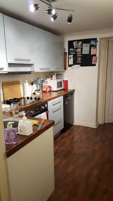 Kitchen with fridge, microwave, cooker and hob