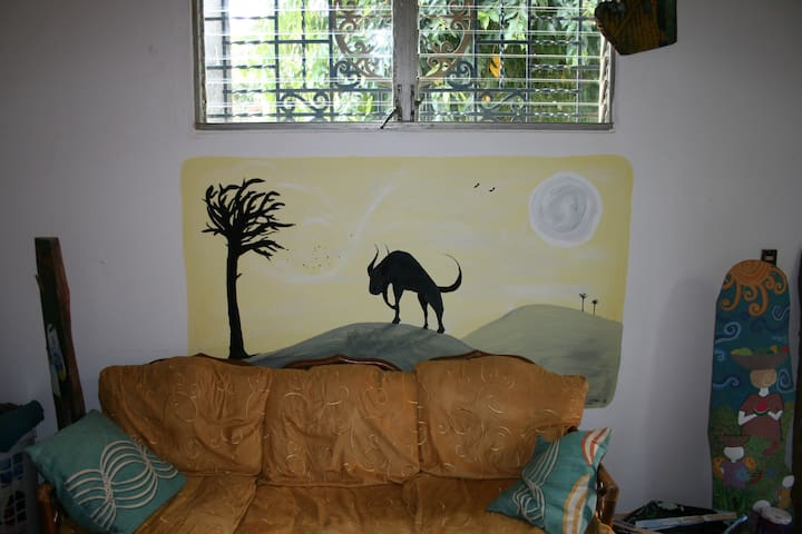 One of several murals to be found throughout the home
