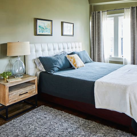 The soothing bedroom is both spacious and homey. You'll sleep like a dream on the king memory foam mattress and incredibly comfortable sheets.