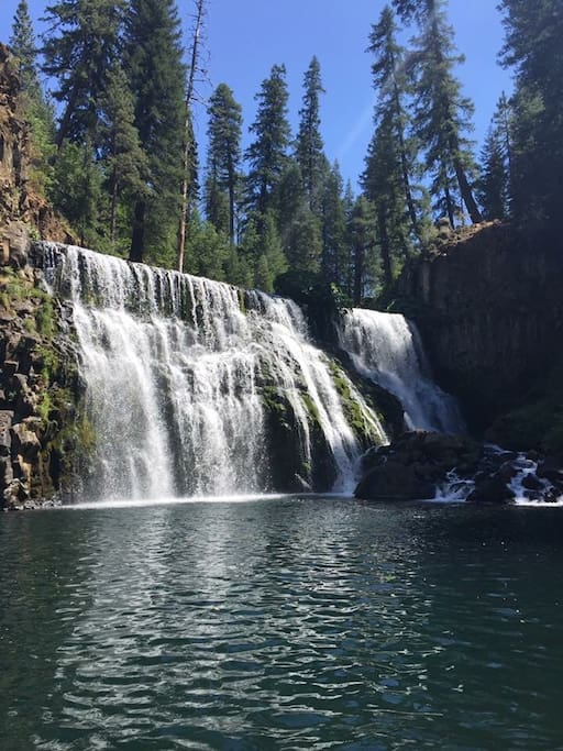 McCloud middle falls. 15min drive to parking area. Short hike to falls.