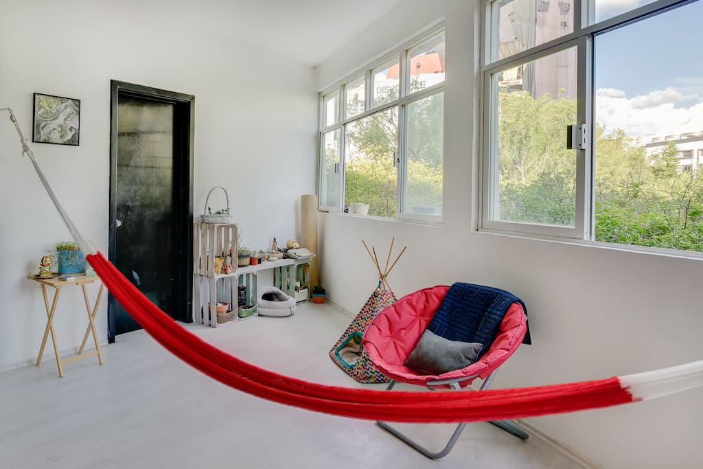 The door to your room and your always ready hammock.