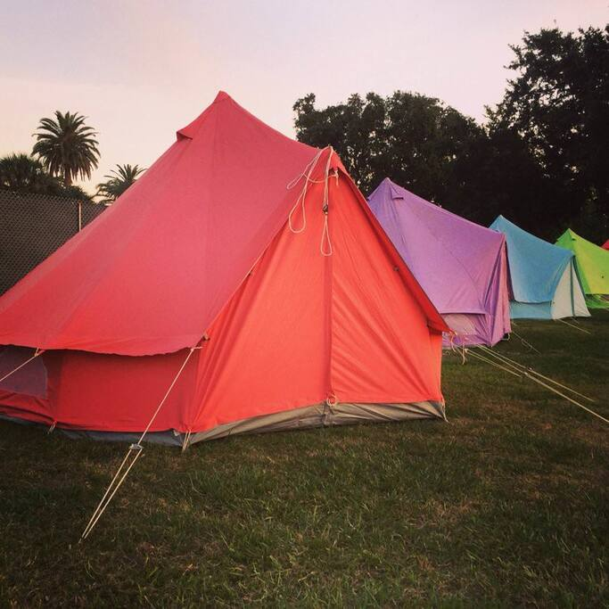 Colorful European style bell tents.