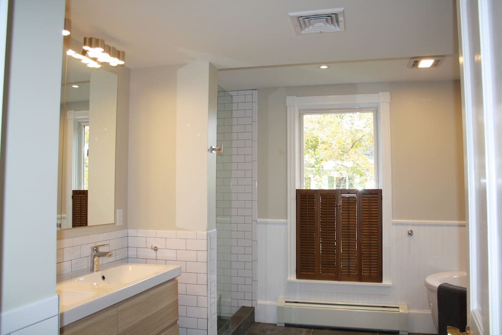 Awesome large shared bathroom with 4'x4' shower and soaking tub ( shared with one other bedroom)