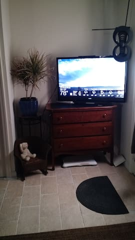 TV with Local channels, Amazon Prime and Netflix.