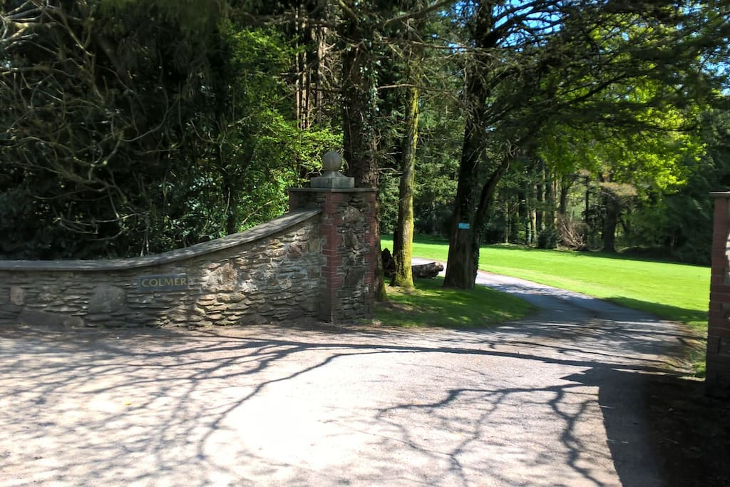 The entrance to the 28 acre Colmer Estate and Waterfall Cottage