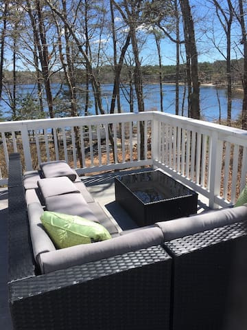 Outside wrap around deck facing lake