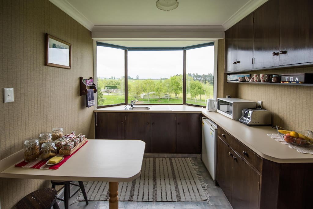Kitchenette with farm views and starry nights